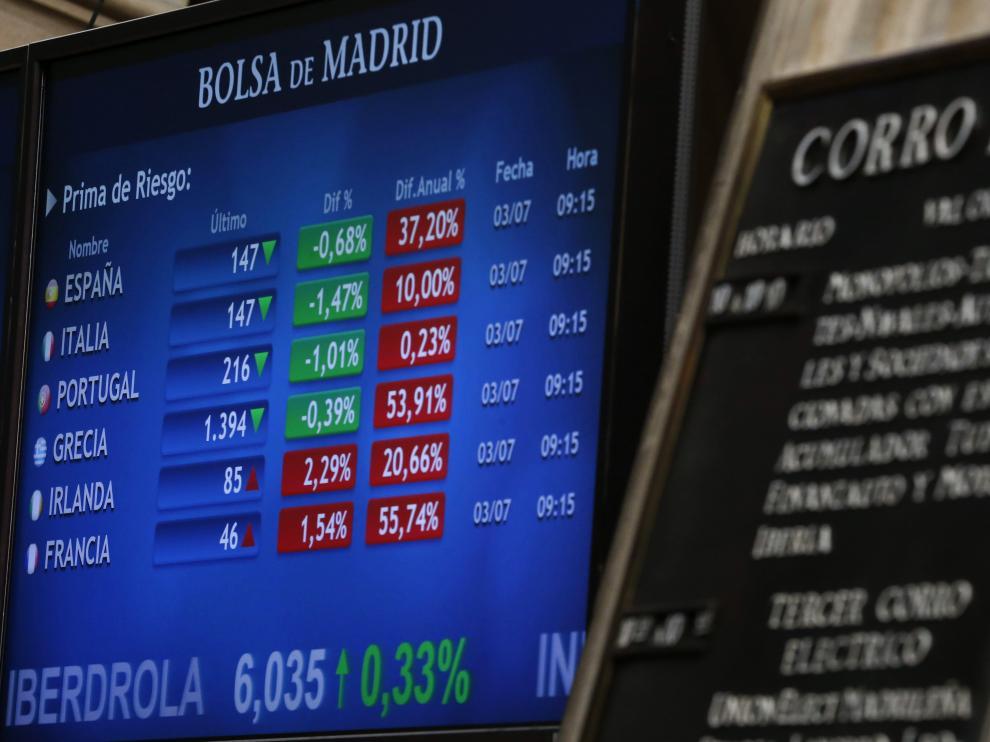 Panel informativo de la Bolsa de Madrid que muestra los valores de la prima de riesgo en los principales países de la zona euro.