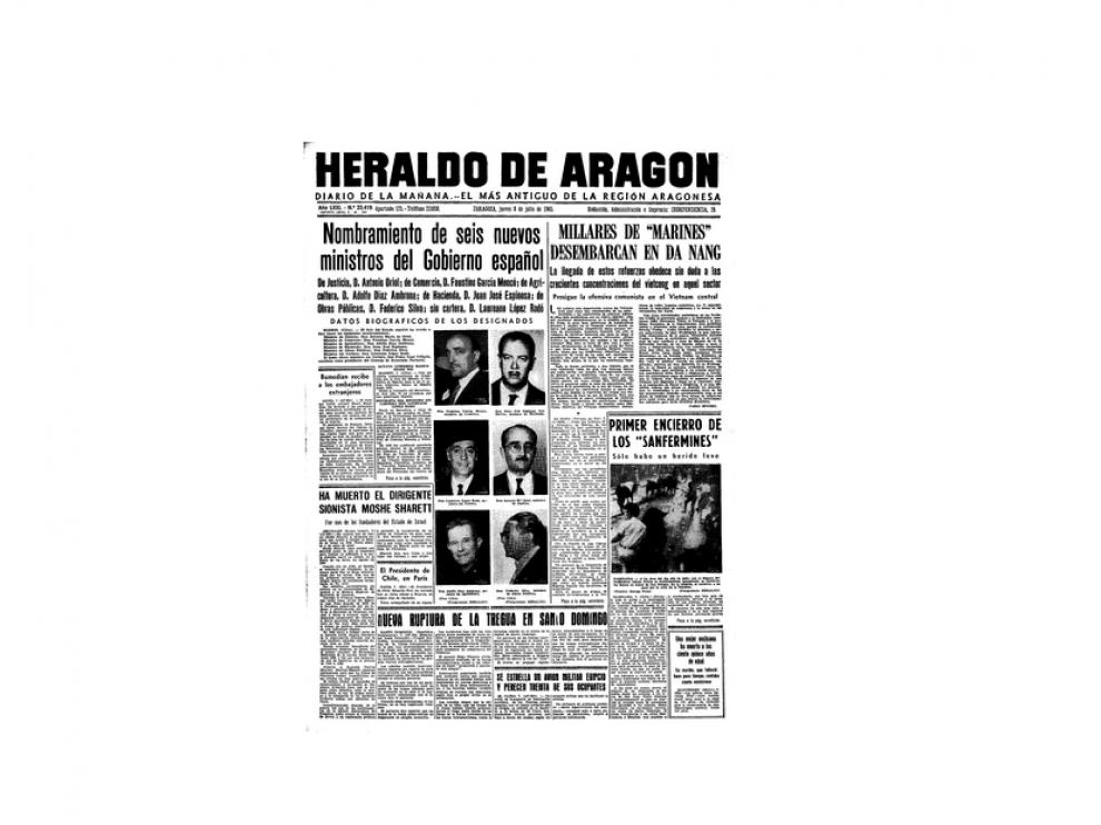 Portada de HERALDO el día 8 de julio de 1965