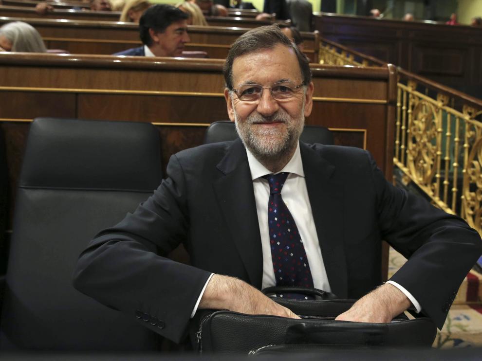 El presidente del Gobierno, Mariano Rajoy, durante el pleno del Congreso