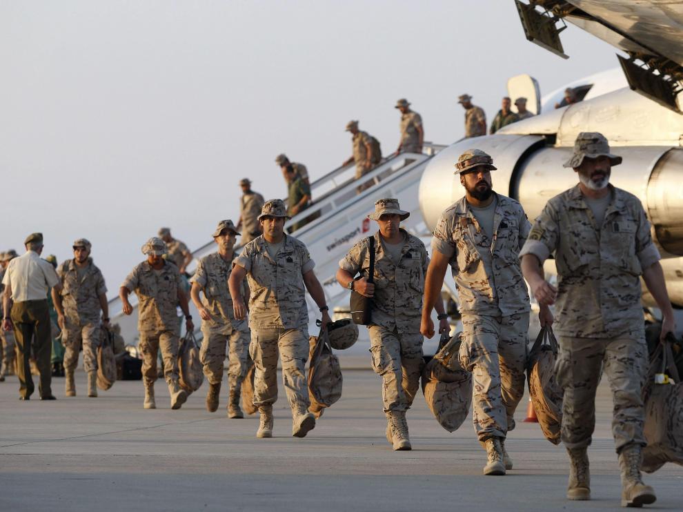 Militares españoles regresando de Irak.