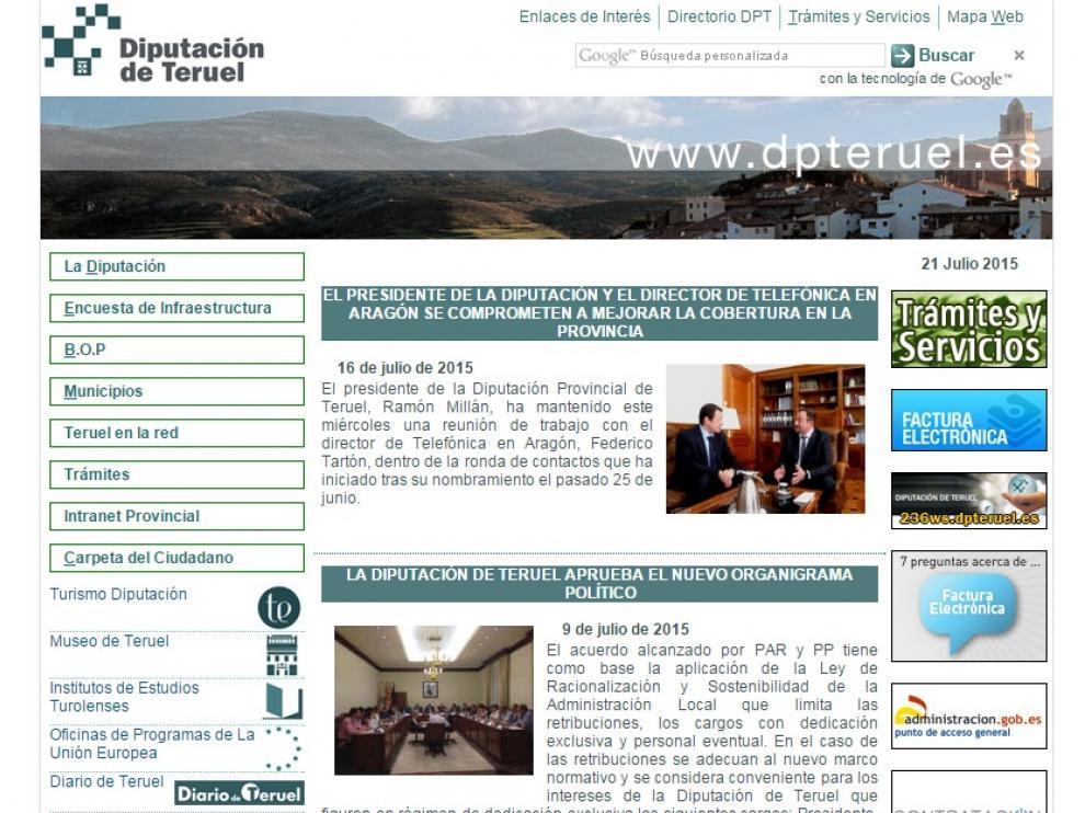 Web de la Diputación turolense