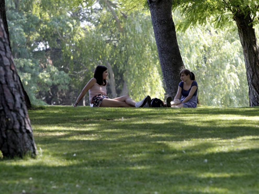 Dos jóvenes se refugian del intenso calor de este mes de julio en el parque de La Dehesa