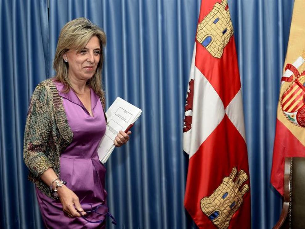 La delegada del Gobierno en Castilla y León, María José Salgueiro, a su llegada a la rueda de prensa