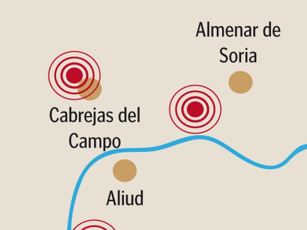 Mapa que señala dónde se situaron los cuatro epicentros.