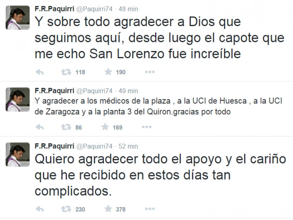 Varios de los 'tweet' de Francisco Rivera desde el Hospital Quirón de Zaragoza.