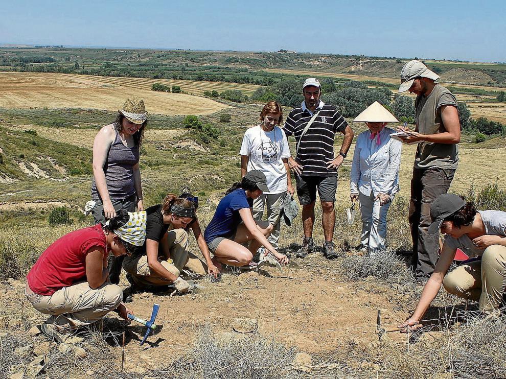 Alumnos y miembros del equipo de investigación en el yacimiento de Valletas, dentro del término municipal de Sena.