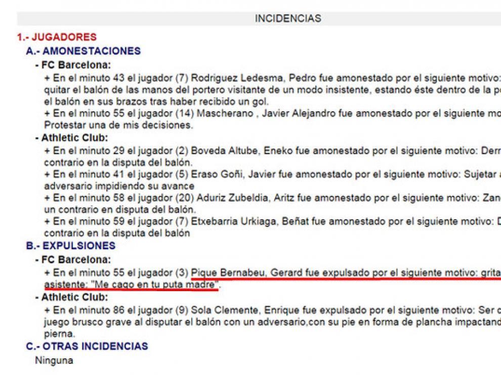 Fragmento del acta arbitral del FC Barcelona - Athletic.