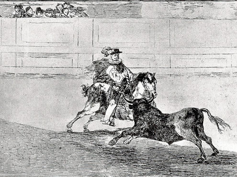 Uno de los grabados de 'La tauromaquia' de Goya.