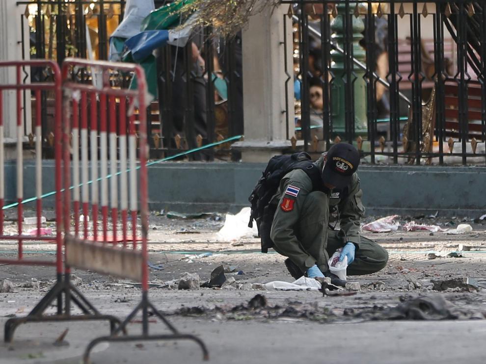 Imagen de la explosión en Tailandia, foto de archivo.