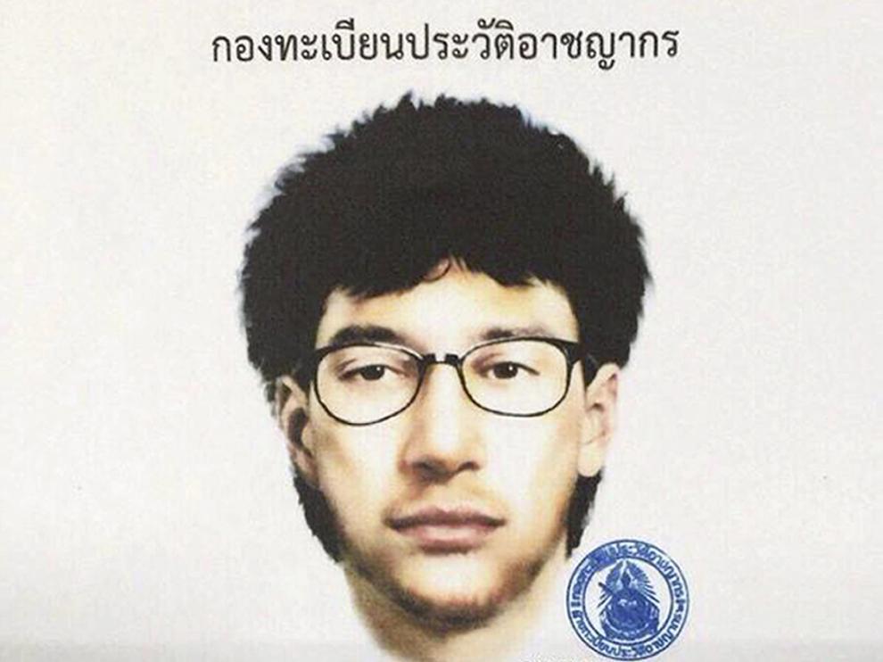 Retrato robot del sospechoso del atentado en Bangkok.