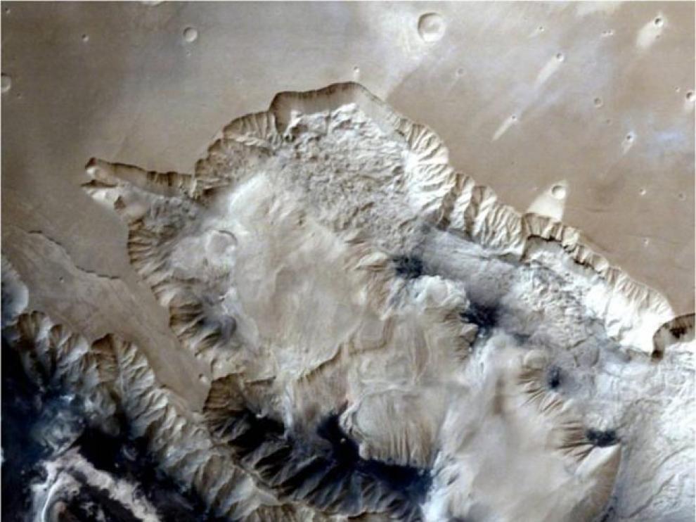 Imagen del cañón de Marte captada por la misión Mars Orbiter de La Indiao.
