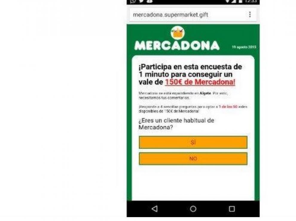 Mensaje falso que se utiliza para el fraude