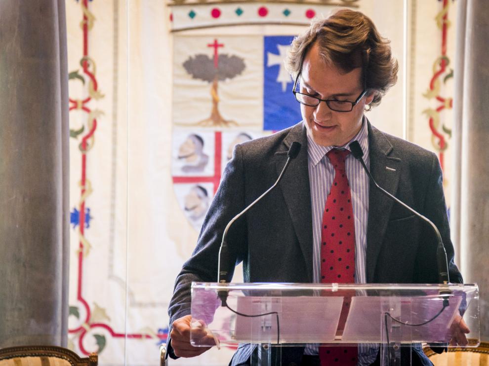 Manuel Giménez Larraz en el homenaje a la palabra en recuerdo de su padre en la Aljafería /