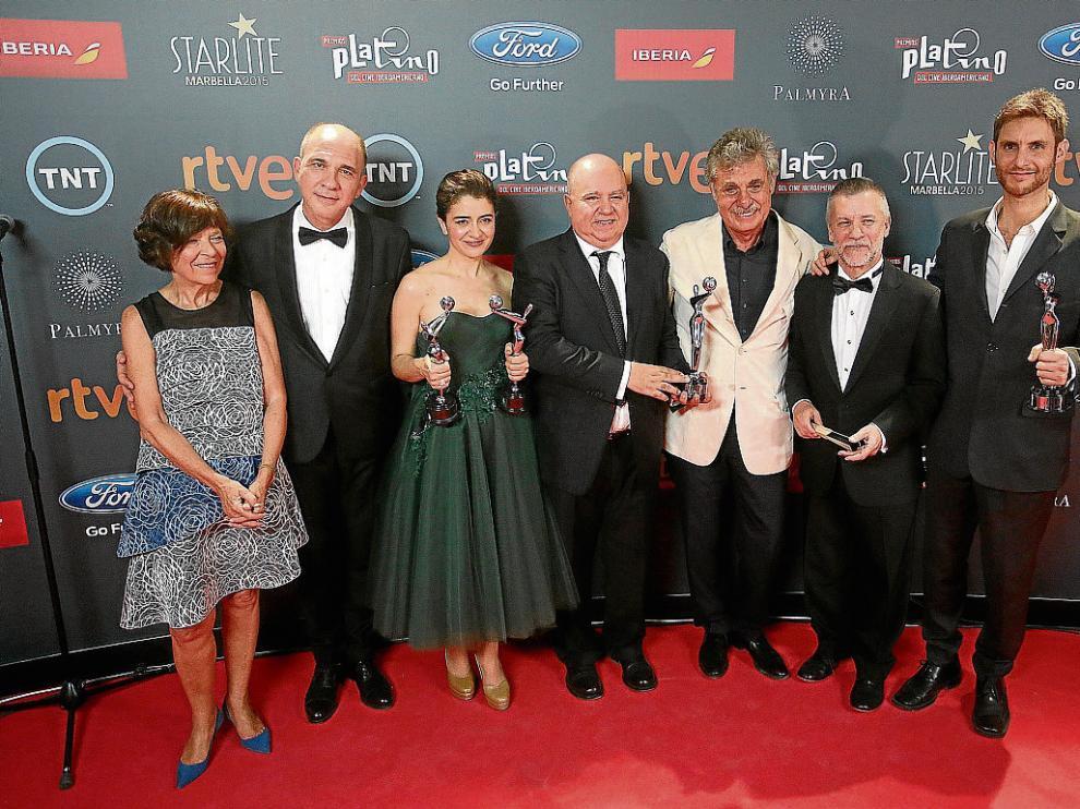 El equipo de 'Relatos salvajes', el sábado, con tres de los Premios Platino.