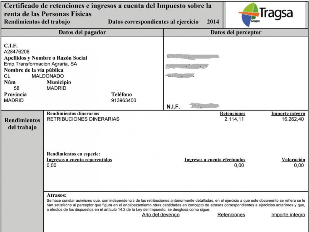 Las BRIF mostraron la nómina de uno de los trabajadores de las diez bases de España para detallar la percepción anual de los brigadistas