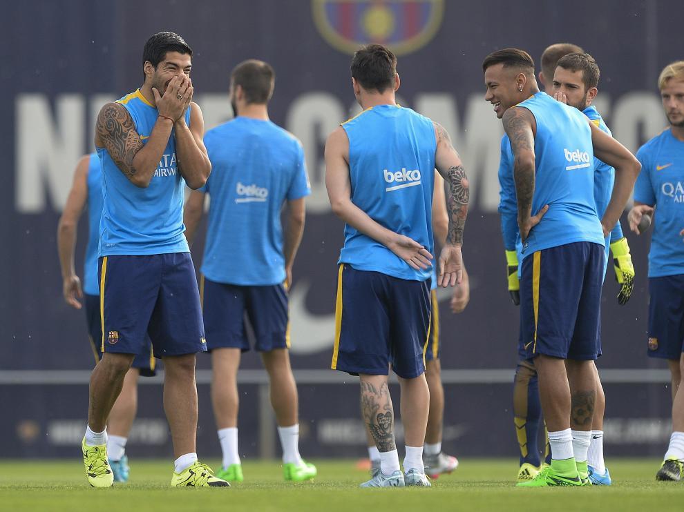 Los jugadores del Barça, durante un entrenamiento