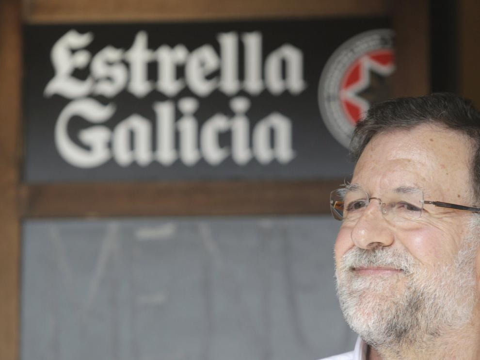 Mariano Rajoy, este sábado en la localidad lucense de Portomarín.