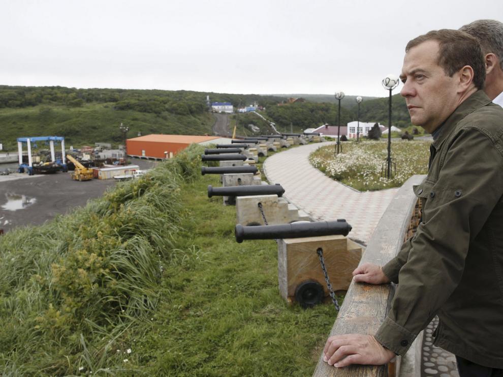 Medvédev, en su visita a las islas Kuriles.
