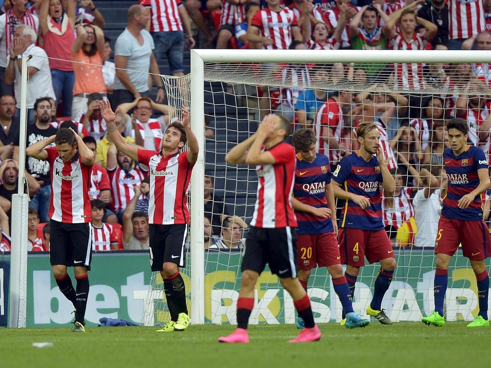 Suárez anota el gol del Barcelona en Liga ante el Athletic