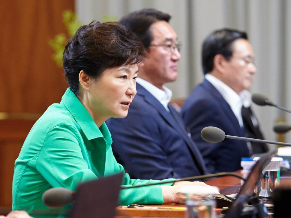 La presidenta de Corea del Sur durante las negociaciones.