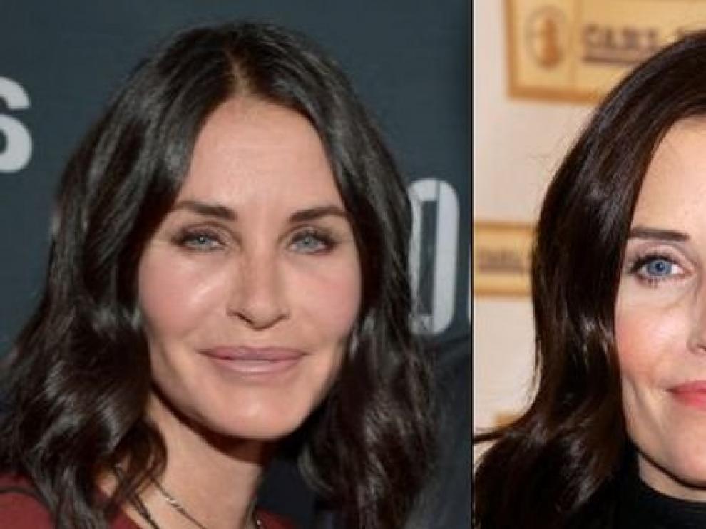 A la derecha el 'antes', en el año 2003, y a la izquierda el rostro actual de Courteney Cox.