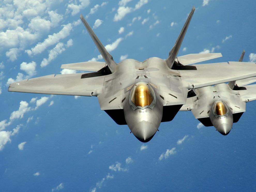 Dos cazas F-22 de la Fuerza Armada de Estados Unidos.