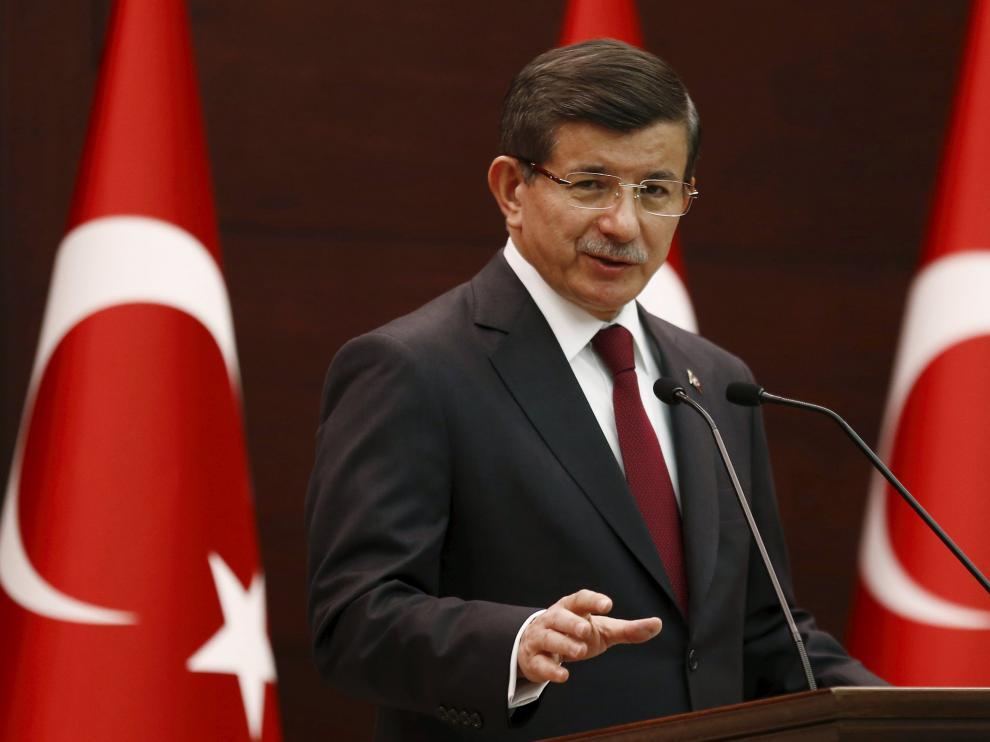 El primer ministro Ahmet Davutoglu durante una conferencia en Ankara.