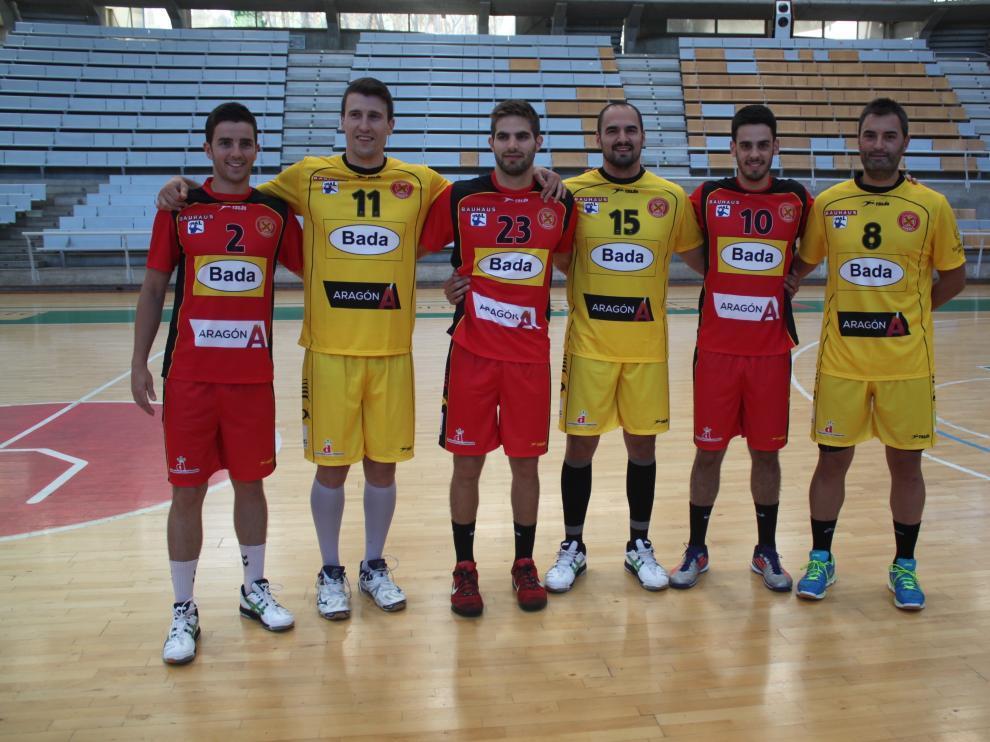 Los jugadores Álvaro Cabanas, Eloy González, Marco Escribano, Pepe Novelle, Jorge Lafuente y Abraham Rochel.