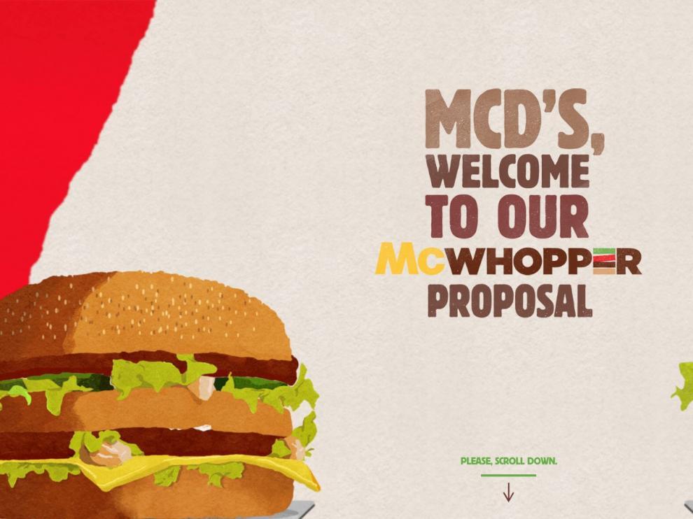 Burger King lanzó este miércoles el sitio www.mcwhopper.com, donde plantea a su competidor aparcar sus diferencias con un 'McWhopper'.