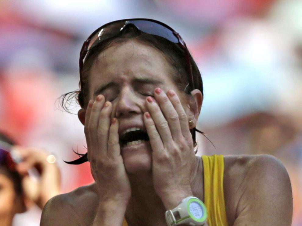 La zaragozana María José Poves tras la carrera