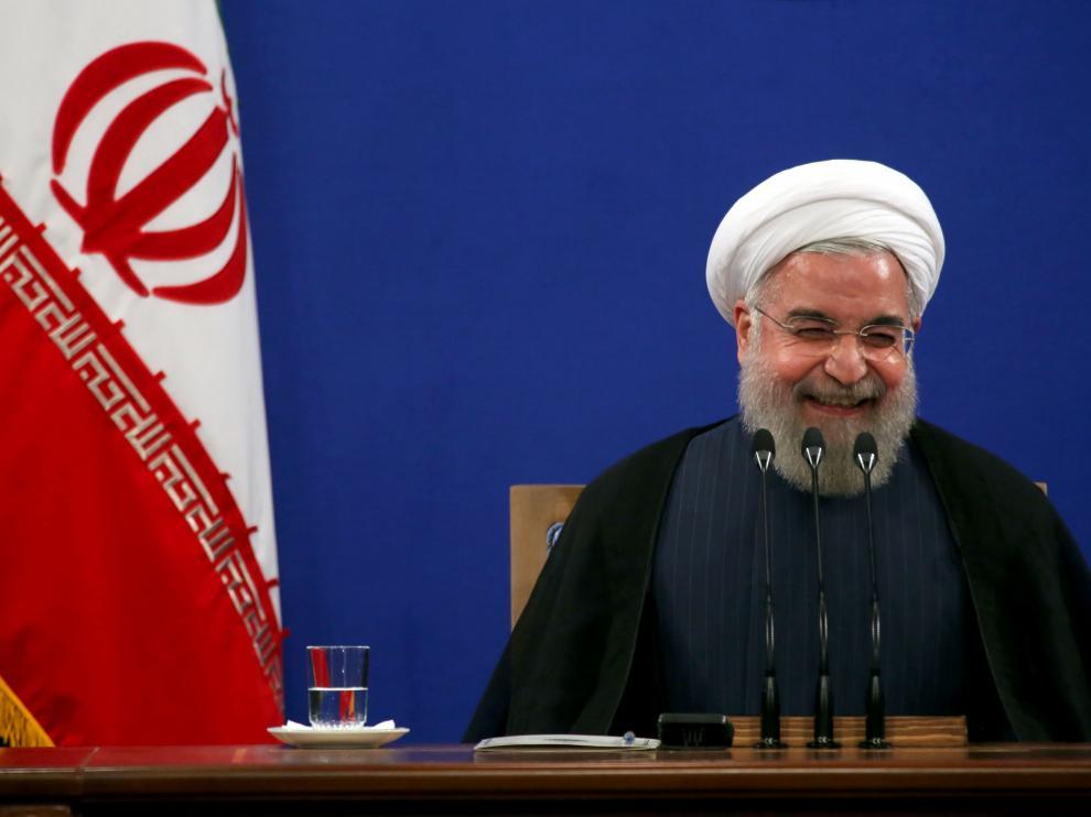 El presidente iraní, Hassan Rouhani durante la conferencia en Teherán.