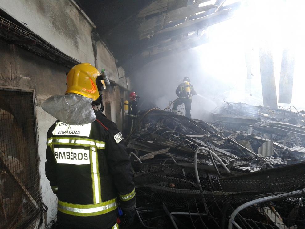 Extinguido el incendio de una nave de gallinas en Ricla