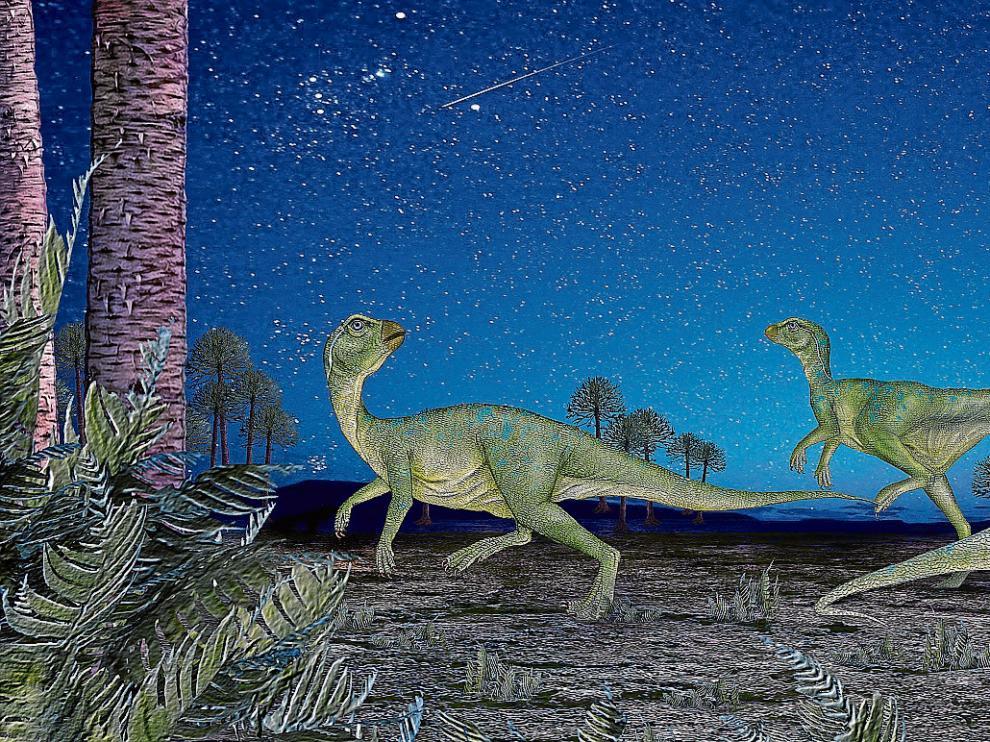 Recreación nocturna hecha por una empresa zaragozana dentro del proyecto divulgativo del Tronco Fósil de Igea, en La Rioja.