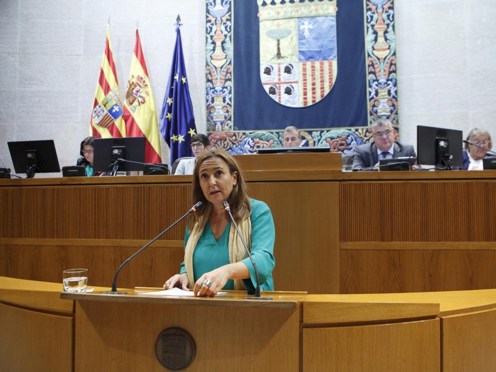 La consejera Mayte Pérez este jueves en las Cortes.