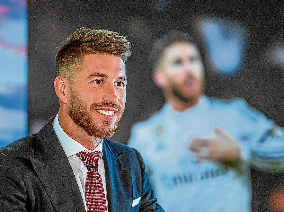 Sergio Ramos, en su comparecencia de ayer en el Santiago Bernabéu.