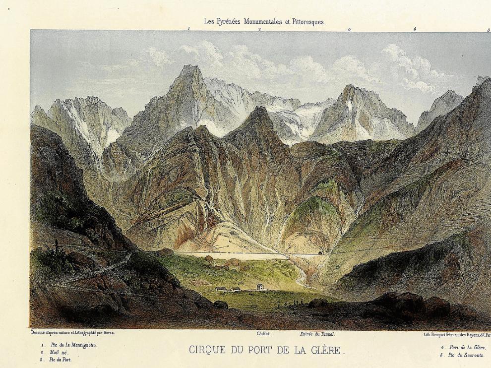 El sueño del túnel entre Benasque y Luchon es muy antiguo, como demuestra esta litografía de 1856 que conserva Jorge Mayoral, de los Llanos del Hospital, en su Centro de Documentación Pirineísta.
