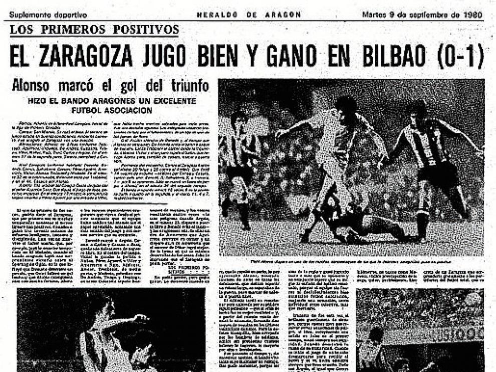 Página de HERALDO DE ARAGÓN? en la que se recoge la crónica del 0-1 logrado en Bilbao en 1980.