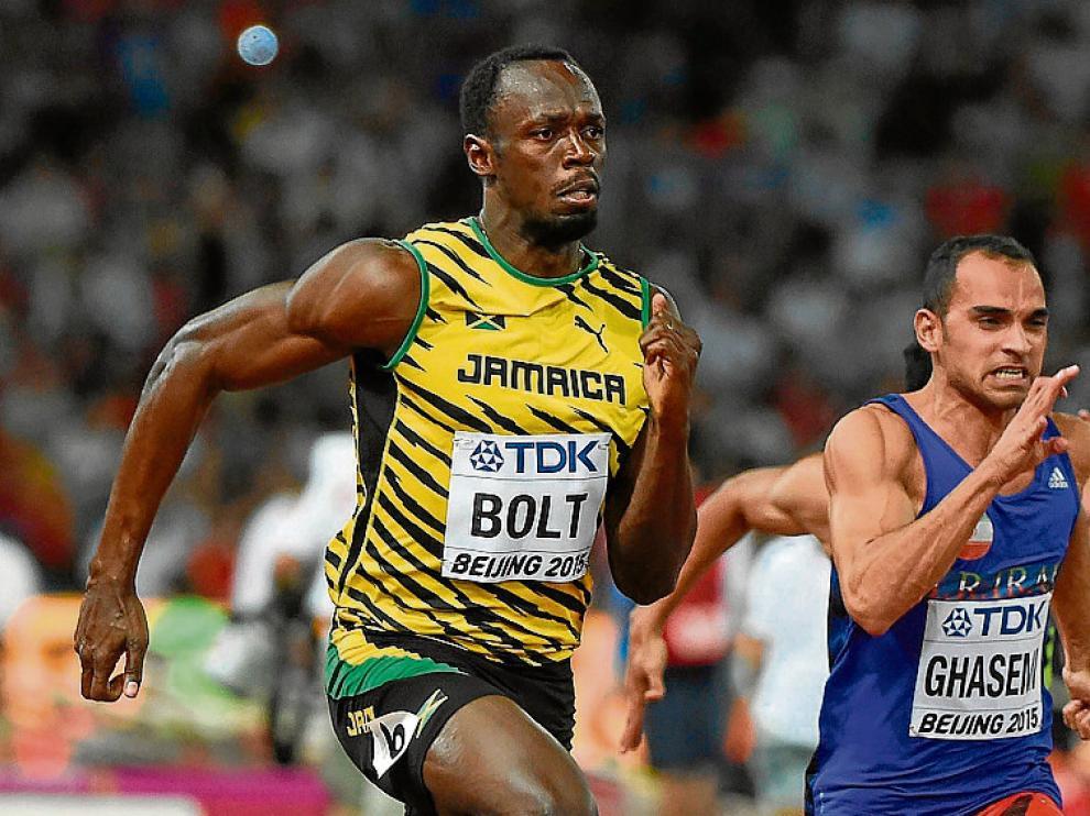 El jamaicano Usain Bolt durante la serie de ayer en Pekín.