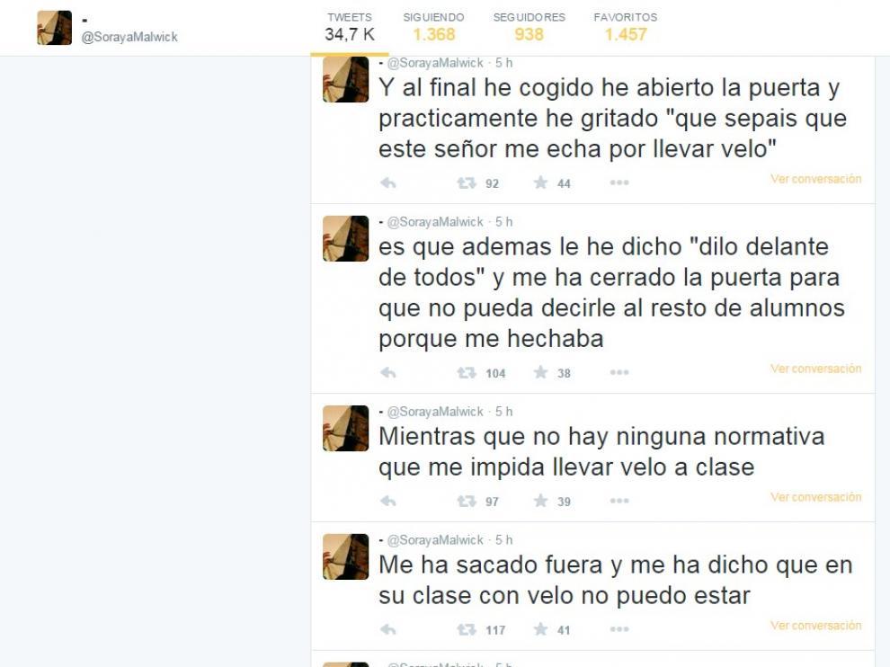 La alumna explicó en Twitter su versión de lo ocurrido
