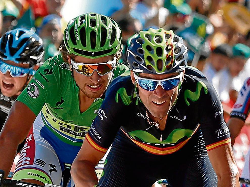 Valverde, ayer en el esprín final de Vejer de la Frontera.