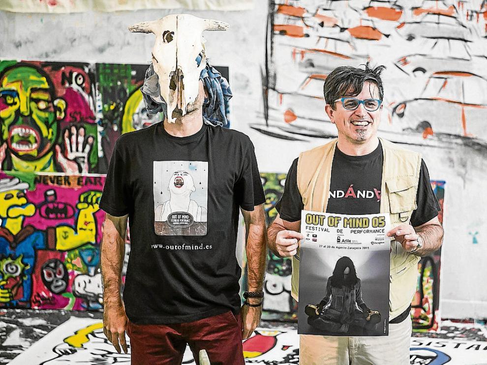 Sergio Muro y David Giménez (espacio Enlatamus), en el proyecto creativo del primero.