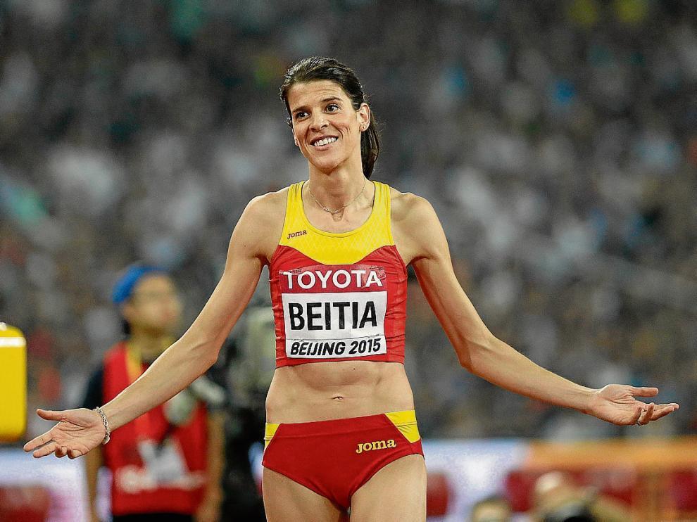 Ruth Beitia, tras uno de sus saltos de la final de salto de altura celebrada ayer en el Nido.