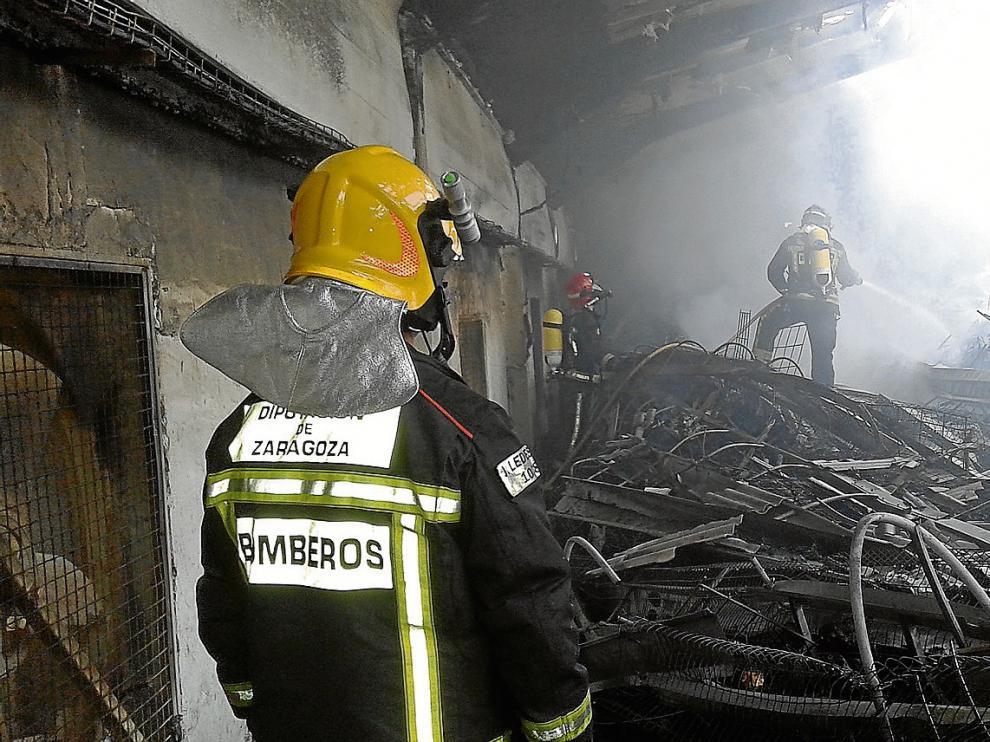 Un incendio arrasa una nave con 60.000  gallinas ponedoras en el polígono de Ricla