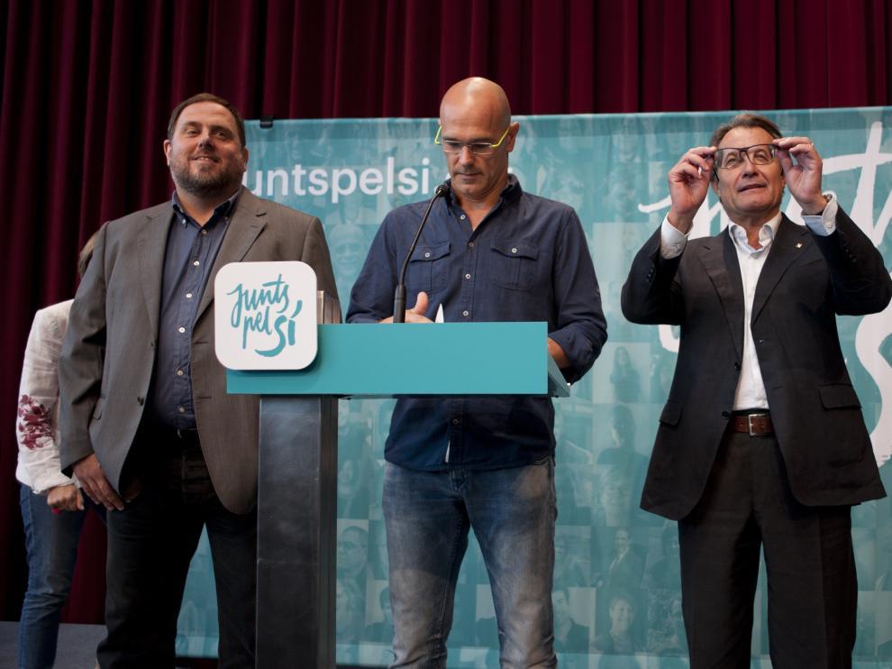 Oriol Junqueras, Raül Romeva y Artur Mas