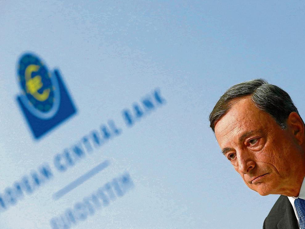 Draghi, durante su intervención ayer en la sede del Banco Central Europeo en Fráncfort.
