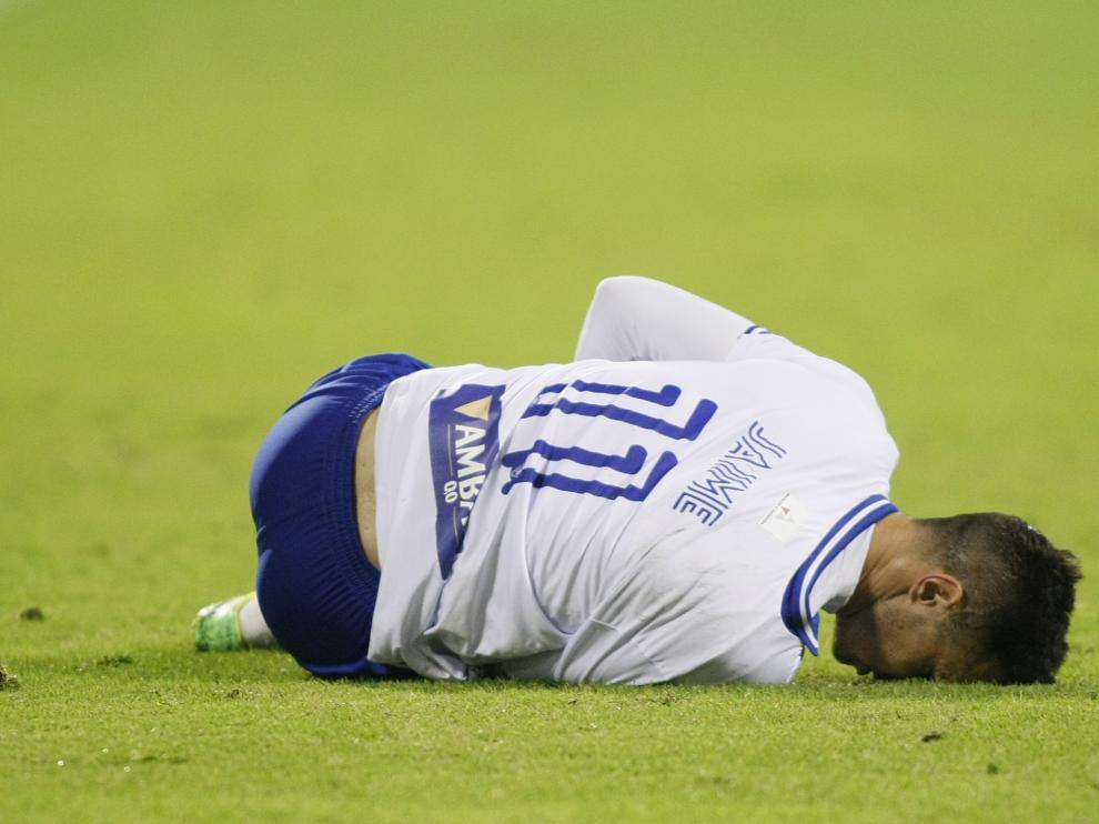 Jaime, tendido en el suelo tras su lesión