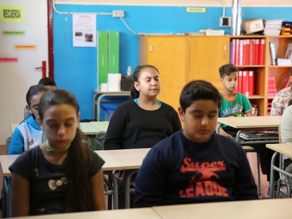Mindfulness en el colegio Ramiro Soláns de Zaragoza.