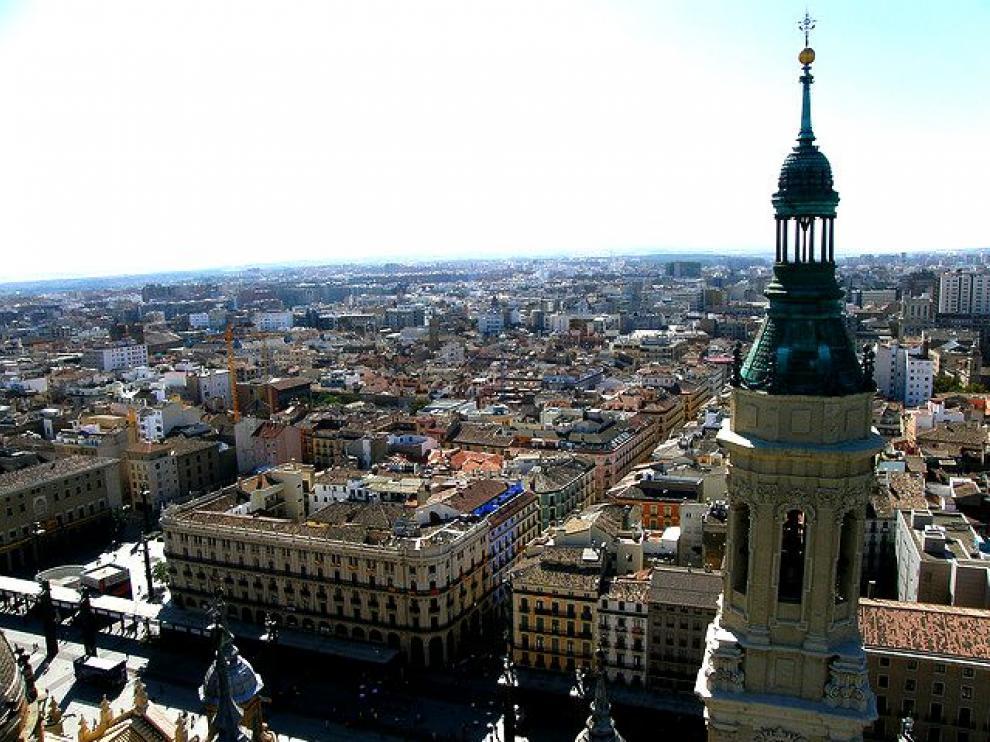Vistas de Zaragoza desde la Basílica del Pilar.
