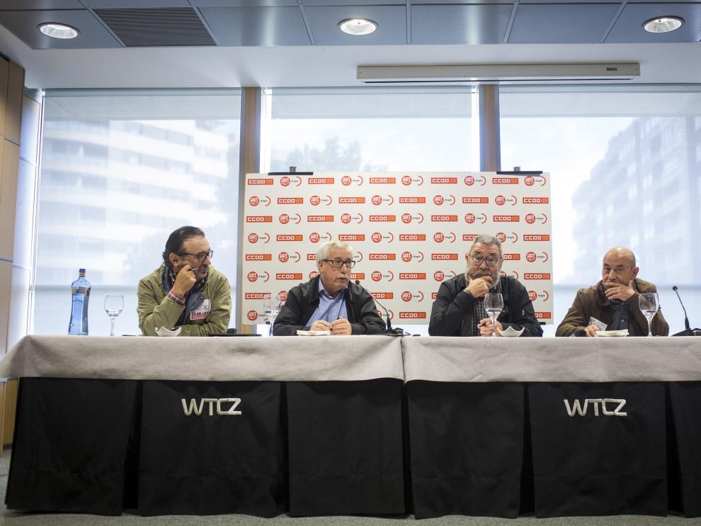 Toxo y Méndez, en la asamblea de delegados sindicales en Zaragoza