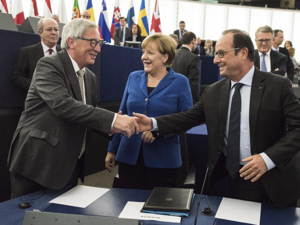 Merkel y Hollande en el Parlamento Europeo